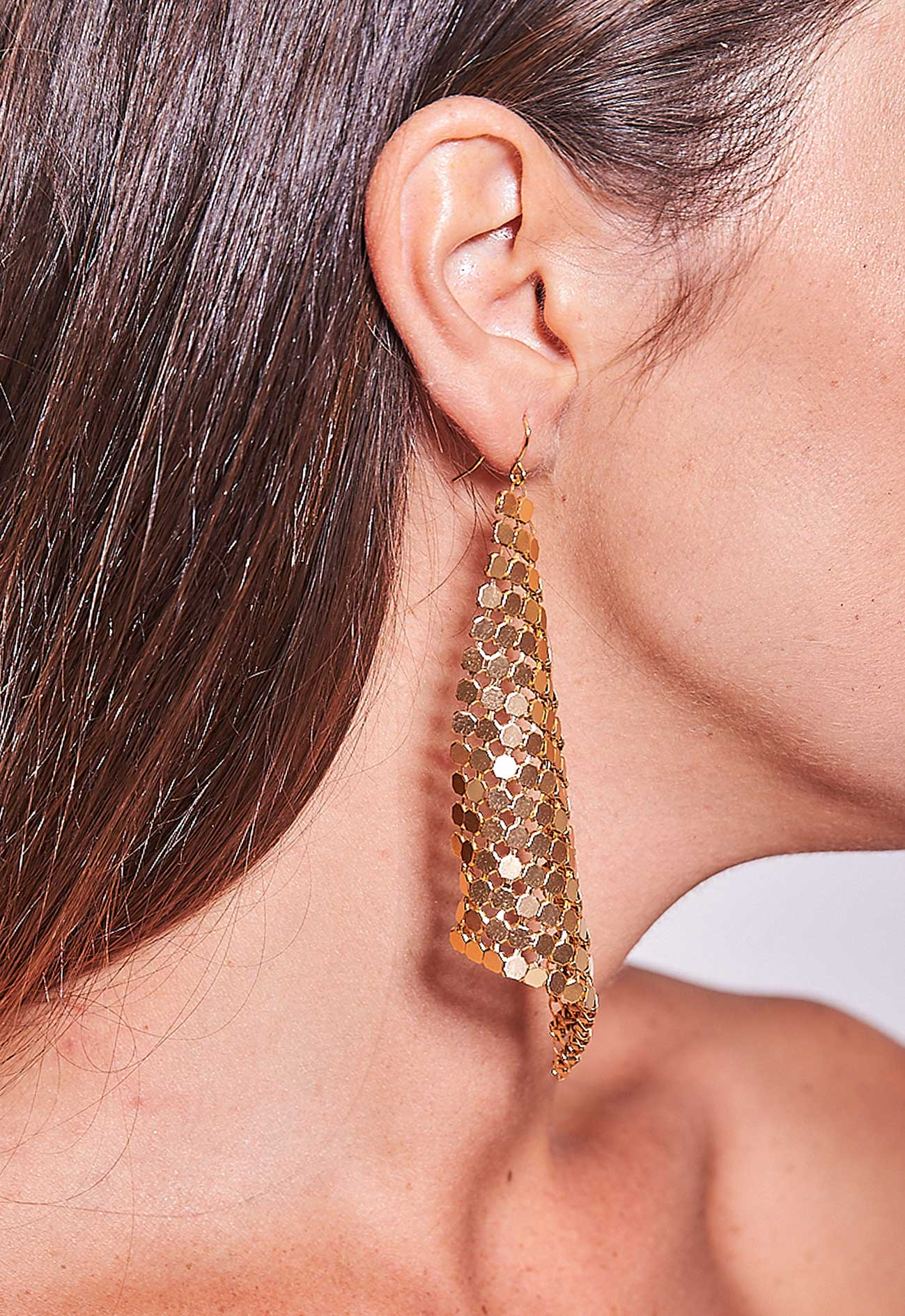 Triangle Mesh Earrings Gold