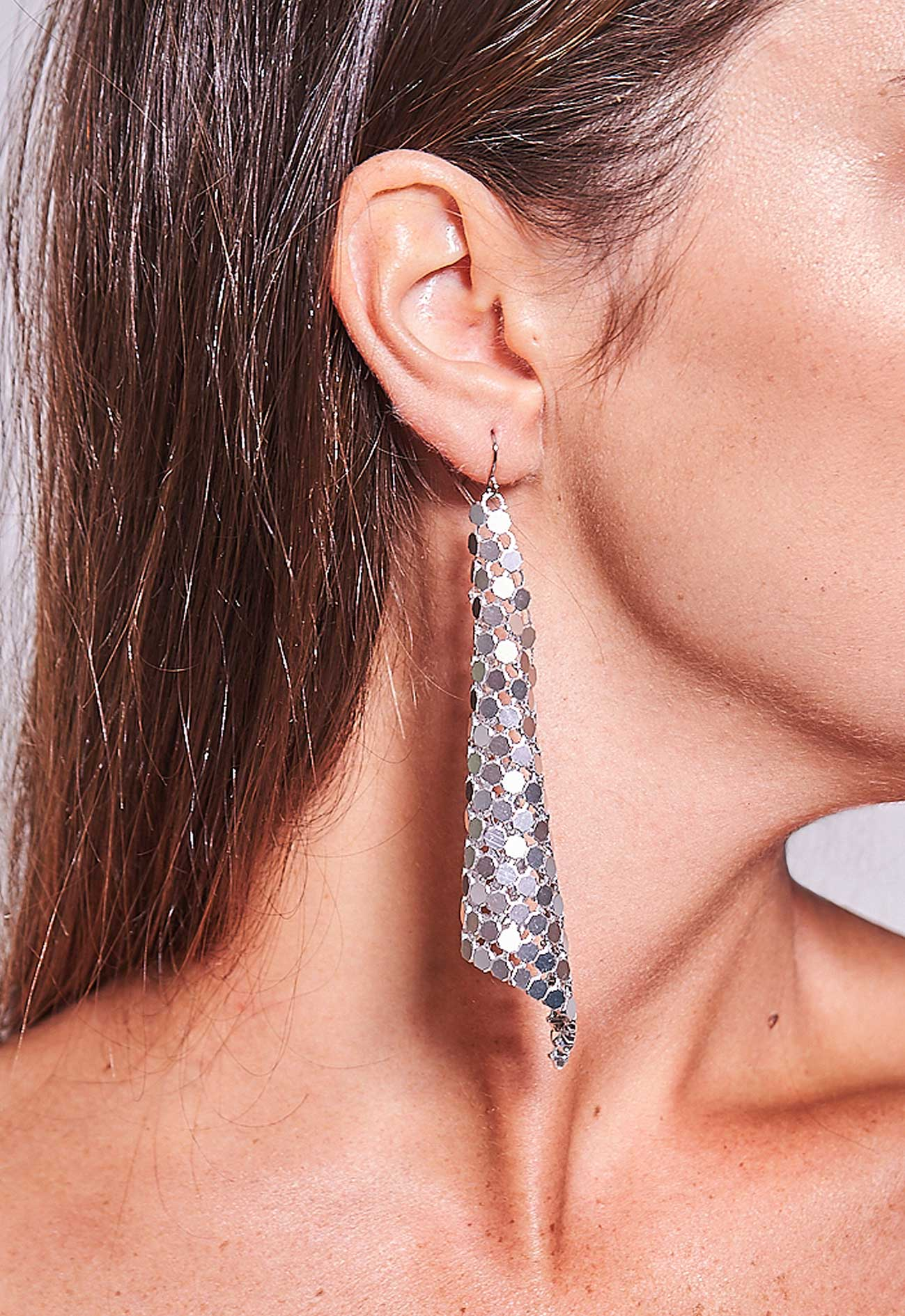 Triangle Mesh Earrings Silver