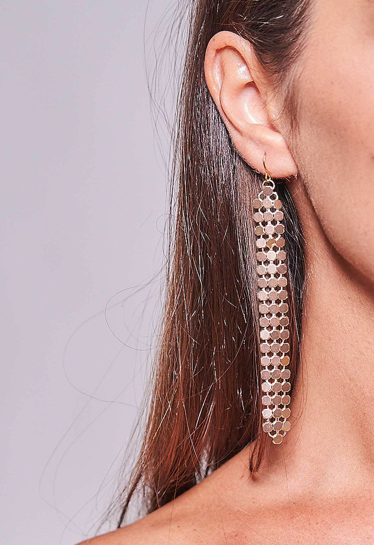 Mesh Earrings Gold Long