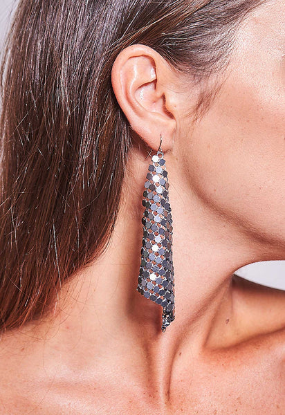 Triangle Mesh Earrings Gunmetal