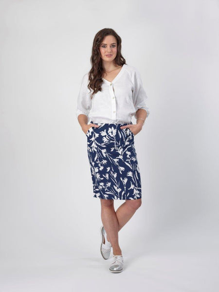 Zip Up Straight Skirt With Pockets / 7028