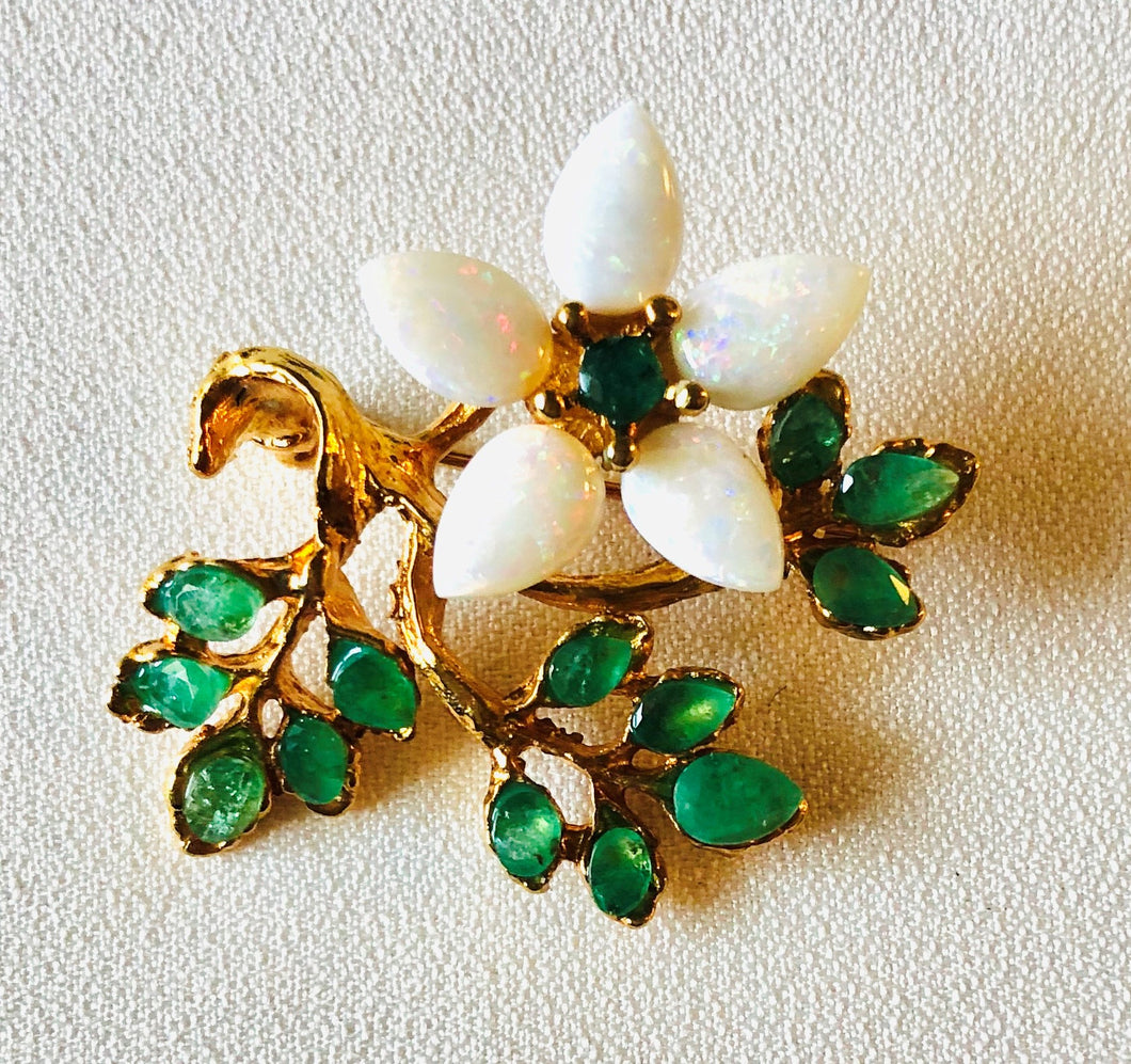 Genuine Opal and Emerald Brooch