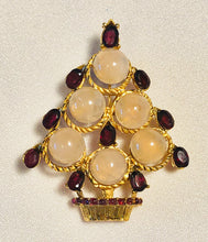 Load image into Gallery viewer, Rose Quartz and Garnet Brooch