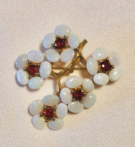 Genuine Opal and Ruby Brooch