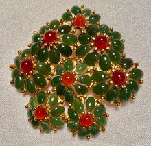 Load image into Gallery viewer, Jade and Carnelian Brooch