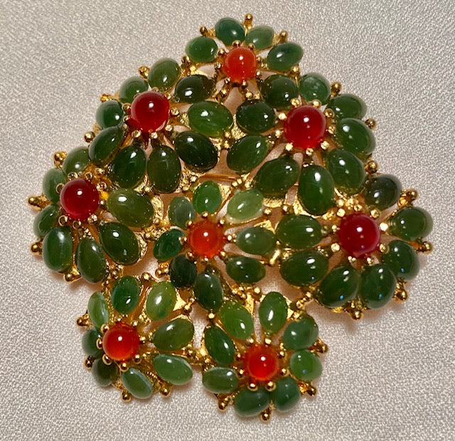 Jade and Carnelian Brooch