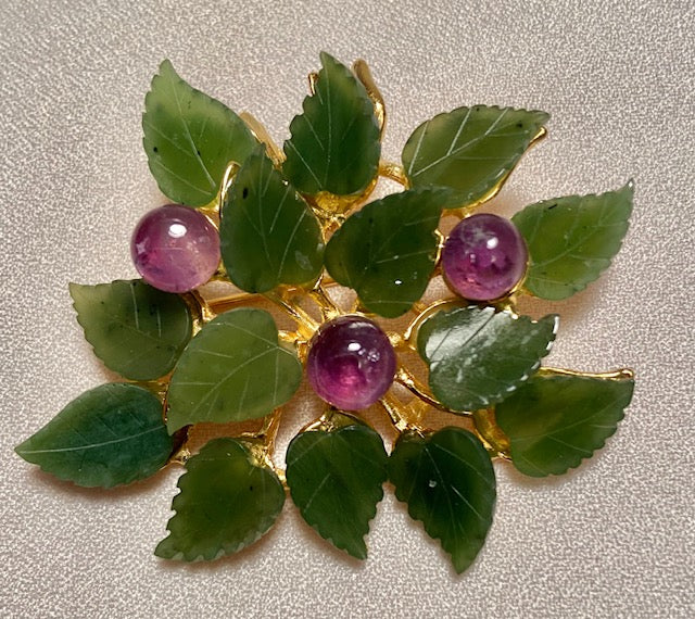 Jade and Amethyst Brooch