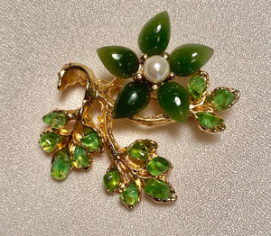 Jade, Peridot and Fresh Water Pearl Brooch