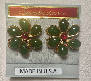 Jade and Garnet Earring
