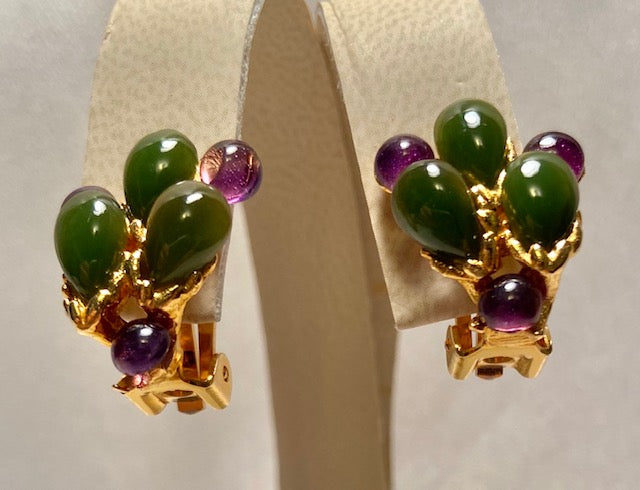 Jade and Amethyst Earring