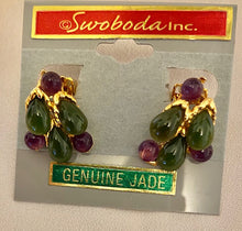 Load image into Gallery viewer, Jade and Amethyst Earring
