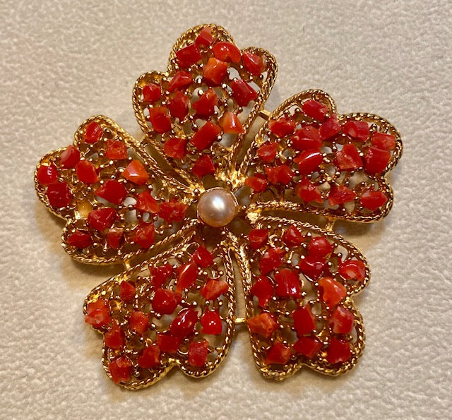 Coral and Pearl Brooch