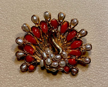 Load image into Gallery viewer, Coral and Fresh Water Pearl Brooch
