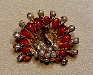 Coral and Fresh Water Pearl Brooch