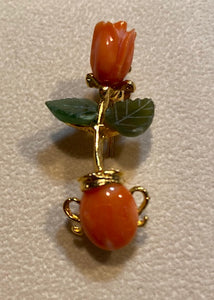 Coral and Jade Brooch