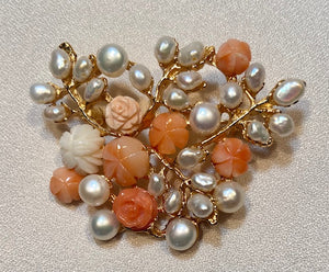Coral and Fresh Water Peal Brooch