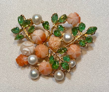 Load image into Gallery viewer, Coral, Peridot and Fresh Water Pearl Brooch