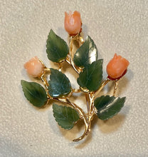 Load image into Gallery viewer, Jade and Coral Brooch