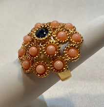 Load image into Gallery viewer, Coral and Sapphire Ring