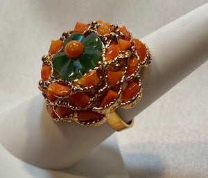 Coral and Jade Ring