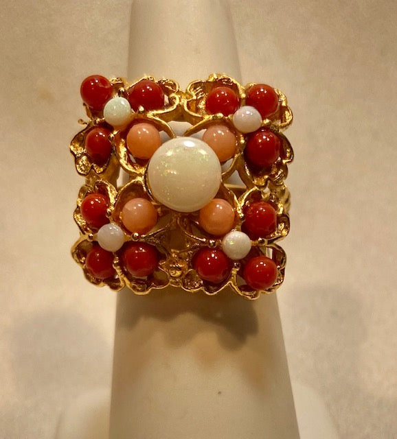 Coral and Opal Ring