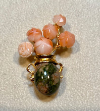 Load image into Gallery viewer, Coral and Unakite Brooch