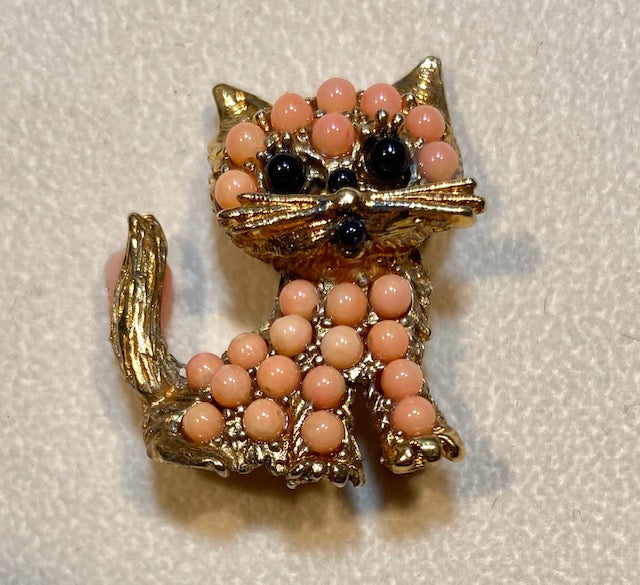 Coral and Garnet Brooch