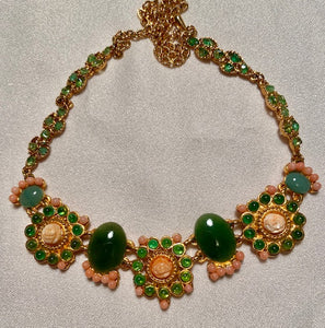 Coral, Jade and Peridot Necklace