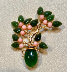 Jade and Coral Brooch