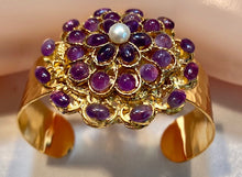 Load image into Gallery viewer, Amethyst and Fresh Water Pearl Cuff Bracelet