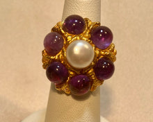 Load image into Gallery viewer, Amethyst and Fresh Water Pearl Ring