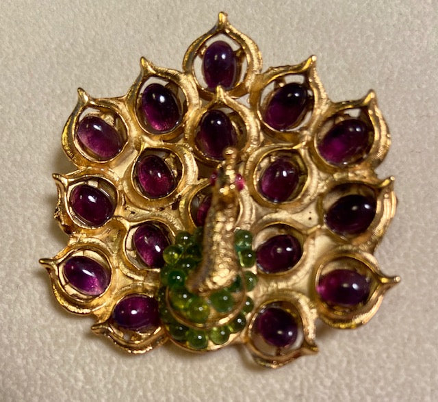 Amethyst, Peridot and Ruby Eyes Brooch