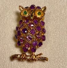 Load image into Gallery viewer, Amethyst and Peridot Eye Brooch