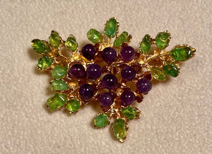 Amethyst and Peridot Brooch