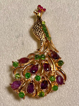 Load image into Gallery viewer, Amethyst, Peridot and Ruby Brooch