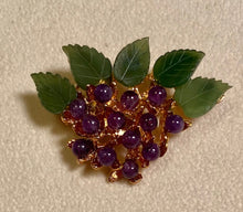Load image into Gallery viewer, Amethyst and Jade Brooch
