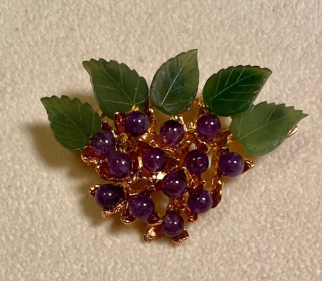 Amethyst and Jade Brooch