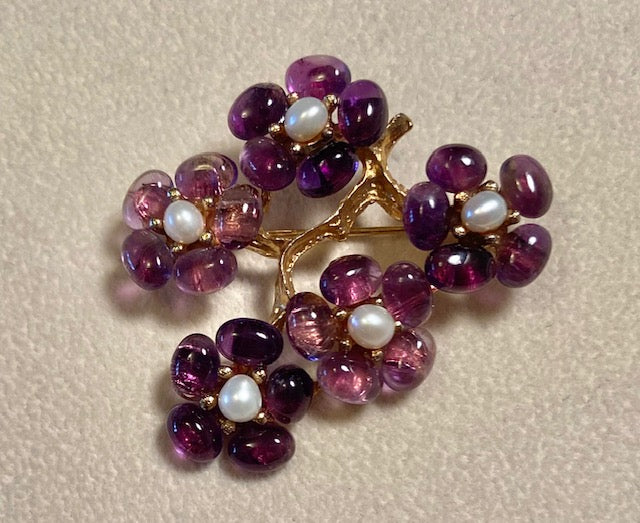Amethyst and Fresh Water Pearl Brooch