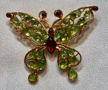 Load image into Gallery viewer, Peridot and Garnet Brooch