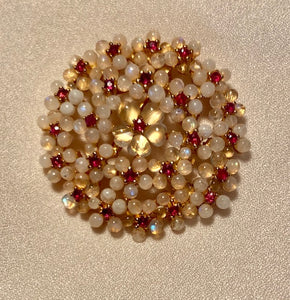 Genuine Ruby and Moonstone Brooch