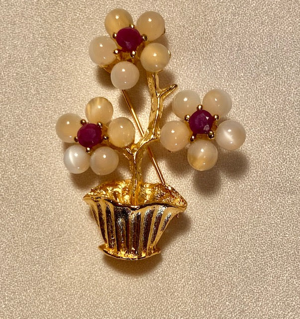 Moonstone and Ruby Brooch