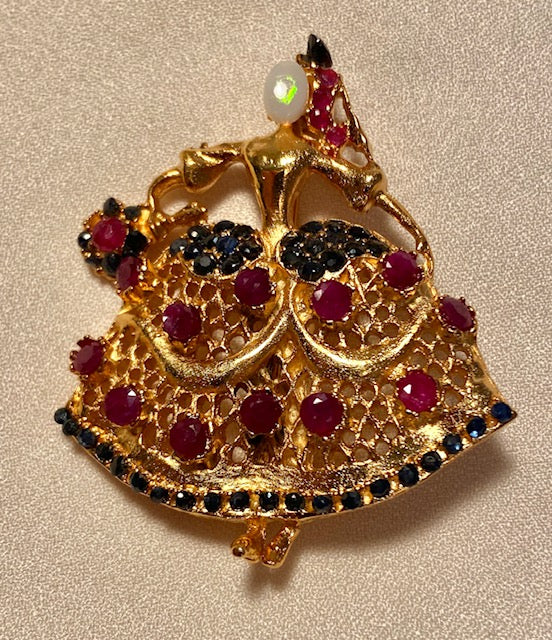 Genuine Sapphire, Ruby and Opal Brooch