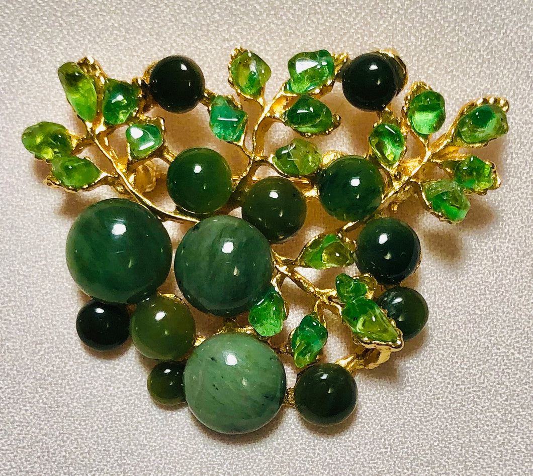 Jade and Peridot Brooch