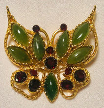 Load image into Gallery viewer, Jade and Garnet Brooch