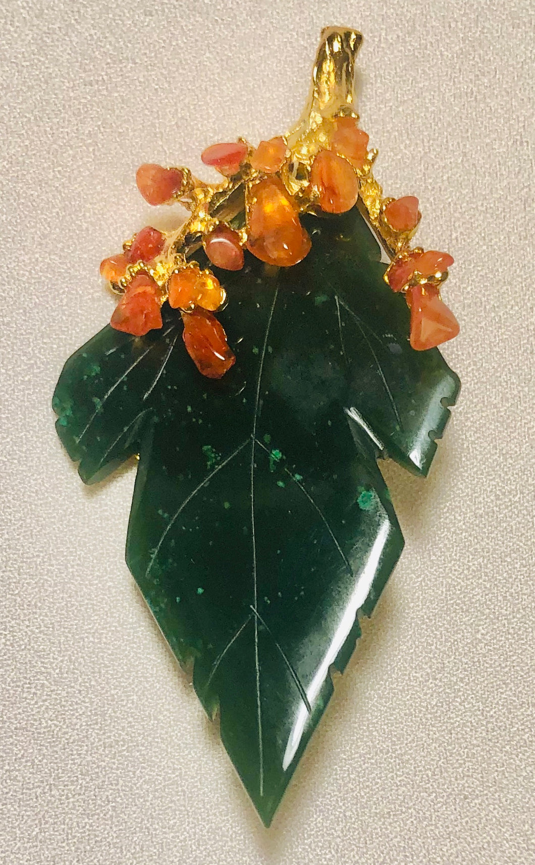 Jade and Carnelian Brooch / Pendant
