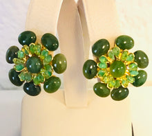 Load image into Gallery viewer, Jade and Peridot Earring - Clip On
