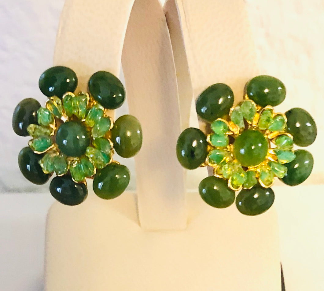 Jade and Peridot Earring - Clip On