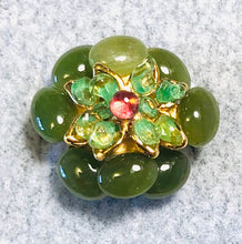 Load image into Gallery viewer, Jade, Peridot and Garnet Ring