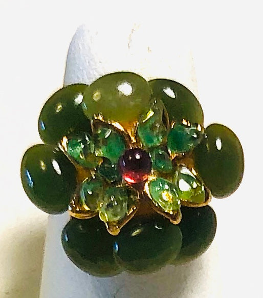 Jade, Peridot and Garnet Ring