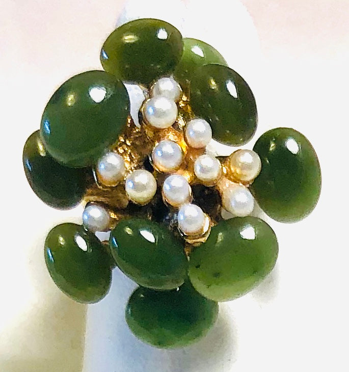 Jade and Pearl Ring